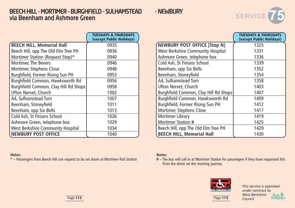 75 bus timetable for Sulhamstead