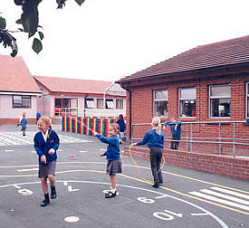 Burghfield St Mary's Church of England Primary School, Burghfield - picture of children in the playground