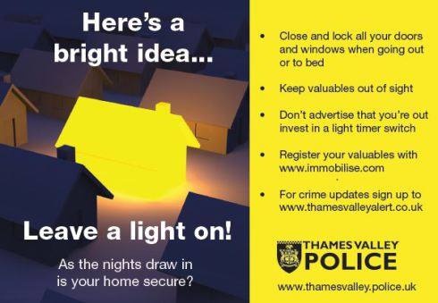 Image to warn against burglary and steps you can take