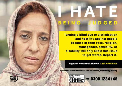 Hate crime awareness poster featuring a lady wearing a head covering