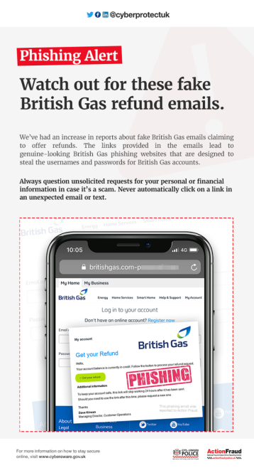 Phishing alert for fake British Gas refund emails