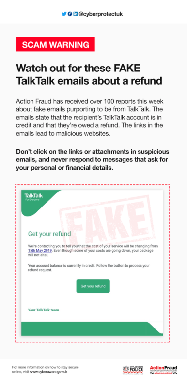 Scam warning about Fake Talk Talk emails talking about a refund